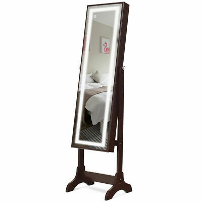 Jewelry Cabinet Armoire Touch Screen LED Light Mirrored Standing Organizer Brown