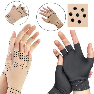 Magnetic Therapeutic Arthritic Fingerless Compression Gloves Arthritis Thera  XA