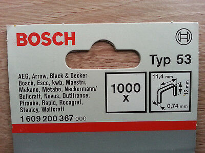BOSCH TYPE 53 STAPLES 11.4x12x0.74mm FITS 17 MAKES OF TACKERS STAPLERS 1000 2.49