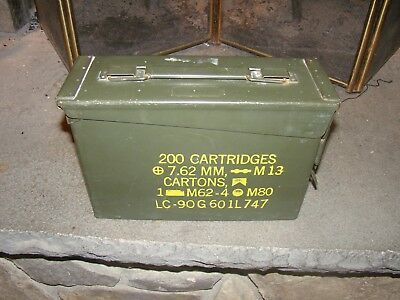 US Military Surplus 30 Cal.  M13 7.62mm Ammo Can Metal Storage Box | EUC