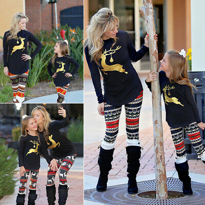 USA Family Matching Clothes Women Girl Mother and Daughter Xmas Party Tops New