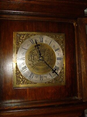 Oak cased Cottage style Grandfather clock, sold brass face circa 1850