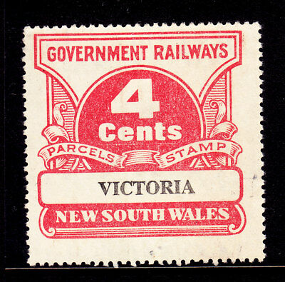"""RAILWAY STAMPS:   4c  NSW PARCEL STAMP    """" VICTORIA """"  USED"""