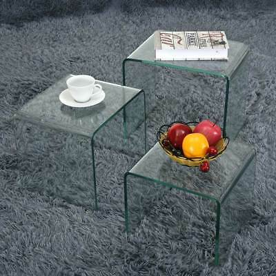 Modern Designer Nest of 3 Table Side Table Tempered Glass Coffee Table 2 Color