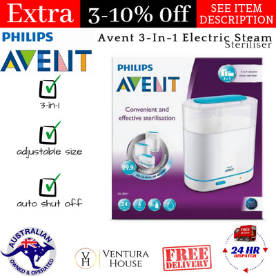 Avent 3-In-1 Electric Steam Sterilizer Auto Shut-Off BPA Free Kills 99.9% germs