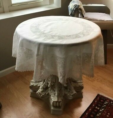 Beautiful Antique Lace Tablecloth  Cherubs Inserts White Round 50 inches