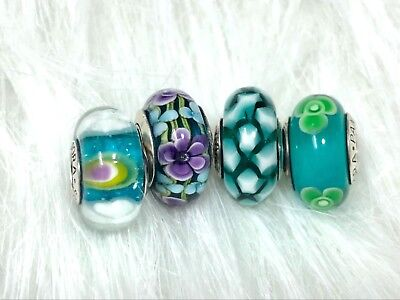 4 pieces Authentic Pandora silver Murano Charm bead teal green purple flower