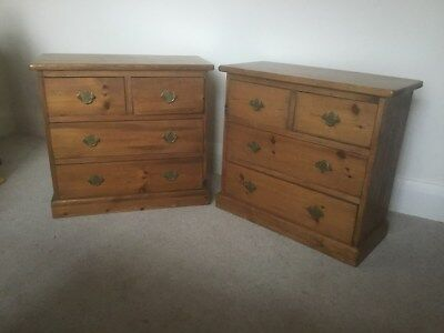 Lovely Pair Vintage Solid PineBedside Chests of Drawers