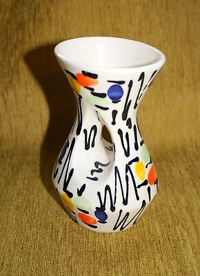 Vintage Art Deco Mid Century Modern VASE Made in Italy Hand painted retro (1)