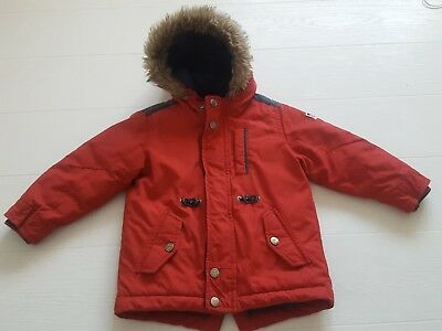 1ef93c577 BOYS NEXT RED padded winter coat with hood and blue lining - aged 2 ...