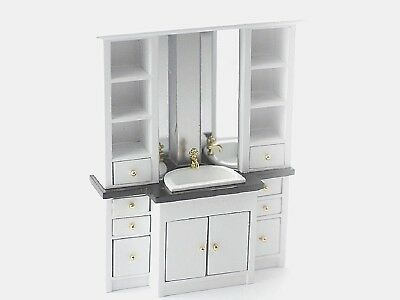 Doll House Bathroom Sink Unit with Mirror, Shelves, Drawers, Cupboard 12th scale