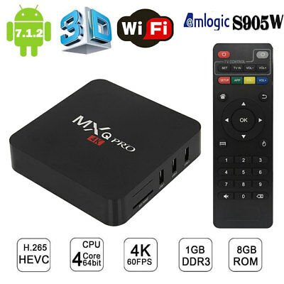 MXQ PRO Android 7.1.2 Smart TV Box 4K 3D H.265 1G 8G Quad Core HD Media Player