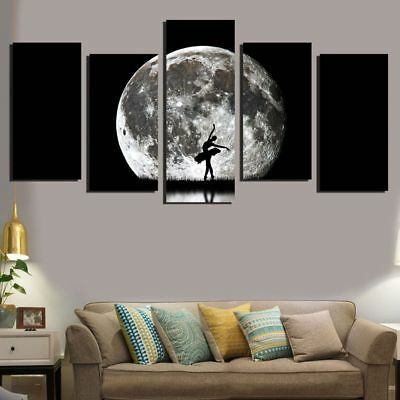 Oil Canvas Painting Wall Art Print Ballet Jumping Under The Moon Wall Pictures