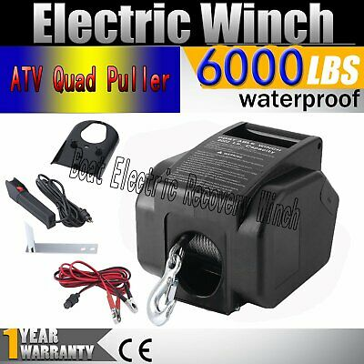 12V 6000LB Boat Trailer Electric Recovery Winch Car Vehicle ATV Quad Puller UK