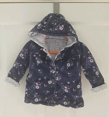 Baby Girls Reversible Padded Coat 6 9m Asda George Good Condition