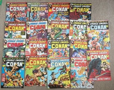The Savage Sword Of Conan Comics Issues  1-18 Mar 1975-July 1975 Good Condition.