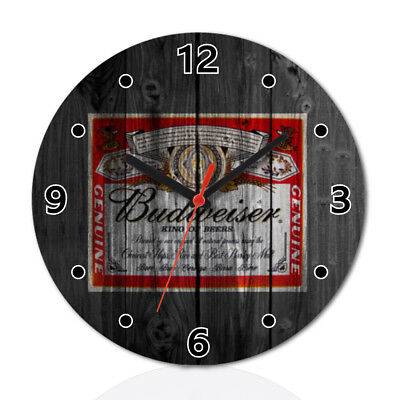 American Beer Wood Clock Home Office Room Decor Gift Round