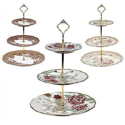 3 TIER VINTAGE FLORAL CERAMIC CAKE STANDs CUPCAKE WEDDING PLATE TEA