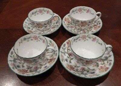 """Minton """"haddon Hall"""" B1452 Pattern Set Of 4 Cup & Saucers Made In England"""