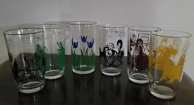 Vintage, Swanky Swigs, 6 Ounce, Glasses, Set Of Six, (6), Yellow, Brown, Green..