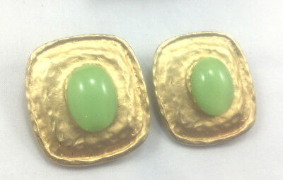Vintage Style Earrings Glass green cabochon Hammered Cast Metal Square Clip On
