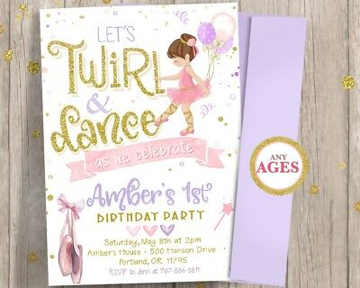 Ballerina 1st First Birthday Invitation Girl Twirl And Dance Tutu