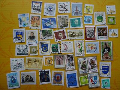 used stamps of Lithuania Lituanie Litauen Lituania - RARE on paper  KILOWARE
