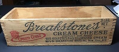 Vintage Breakstone's Cream Cheese Wood Box Crate Graphics Advertising NY 3 Lbs
