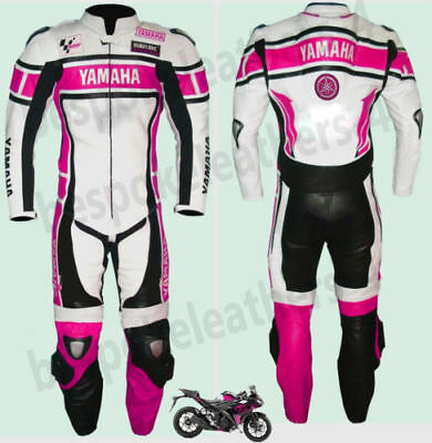 One Piece Yamaha Speed Blocks Motorbike Racing Leather R1 Pink &white Leathers