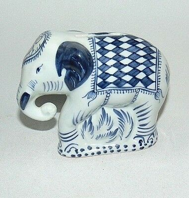 Elephant Bank Thailand Blue White Porcelain