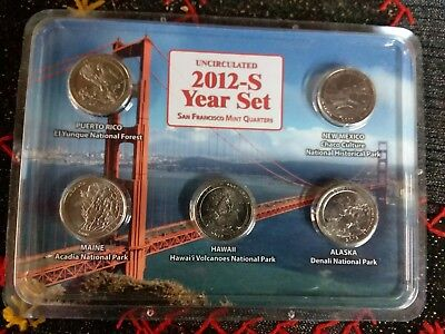 2012-S Uncirculated Year Set San Francisco Mint Quarters National Parks In Case