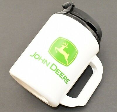 """John Deere Large White Thermo Serve Super Insulated Water Travel Mug 8"""" x 5"""""""