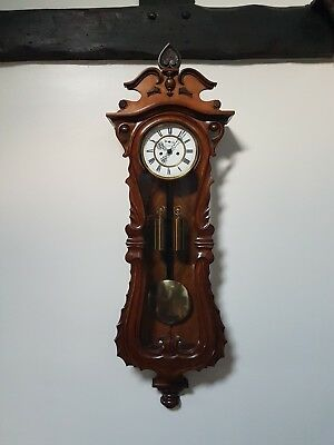 A quality serpentine case twin weight Vienna wall clock maker GR, Germany 1870