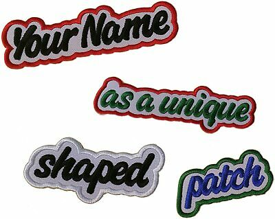 """Custom Embroidered Patch 3.5"""" Freehand Border + Your Name Or Text Iron & Sew On"""
