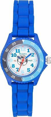 Tikkers Children's Football Time Teacher White Dial Blue Silicone Straps Watch