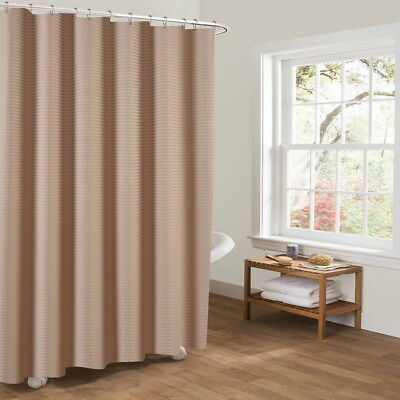 UK 180*180cm Modern Fabric Shower Curtain Solid Weighted Hem with Hooks Rings