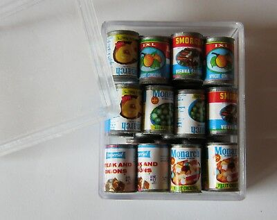 24 piece Miniature Vintage Food Cans Dollhouse Jewelry Making