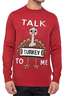Top Turkey Talk Red Christmas Novelty Joke Knit Funny Xmas Jumpers x4SqBY