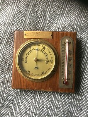 vintage barometer thermometer With Engraving.