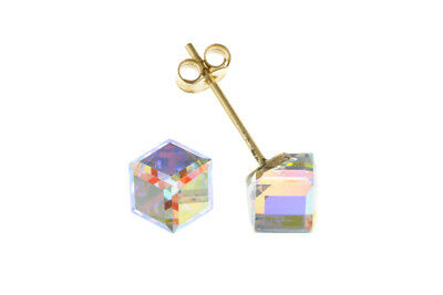 Crystal Cube Stud Earrings Solid 9 Carat Yellow Gold Studs