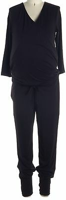 ISABELLA OLIVER Black 3/4 Sleeve Faux Wrap Maternity Jumpsuits Size 0