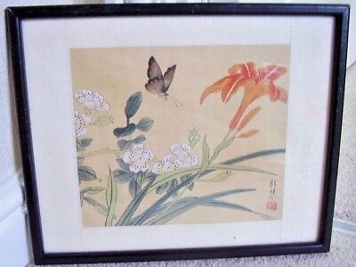 Japanese painting on silk  plaque-picture,framed under glass,signed
