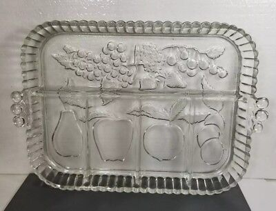 Vintage Indiana Glass Clear 5 Section Divided Fruit Relish Tray Platter Dish