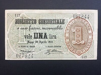 Italy 1 Lire dated 1874 EF