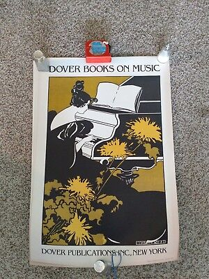 Music Poster Dover Books Press Vintage Original 1982 Lady Grand Piano Art Deco