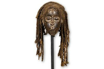 "Chokwe Pwo Mask with Custom Stand 11.5"" - DRC/Angola - African Art"