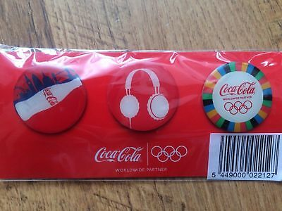 Set Of 3 Official Coca Cola Coke London 2012 Olympic Badges New Sealed