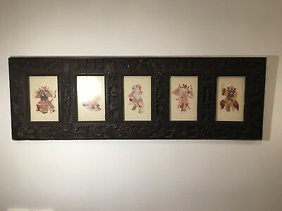 Ornate carved hardwood frieze with Chinese or Japanese dragons, birds  & symbols
