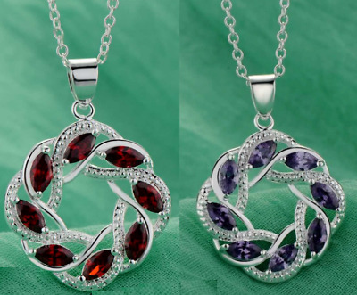 925 Silver Plated Bride Crystal Ruby Red Amethyst Round Chain Pendant Necklace