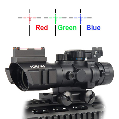 4x32 Tactical Prismatic Rifle Scope Red Green Blue Reticle Optic Sight Hunting